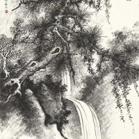 1232. 李研山 松澗 | 水墨紙本 立軸 一九四九年作
