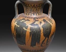 6. an attic black-figured amphora, attributed to the group of compiègne 988, circa 520-500 b.c. | an attic black-figured amphora, attributed to the group of compiègne 988