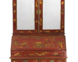 35. a george ii red japanned desk and bookcase