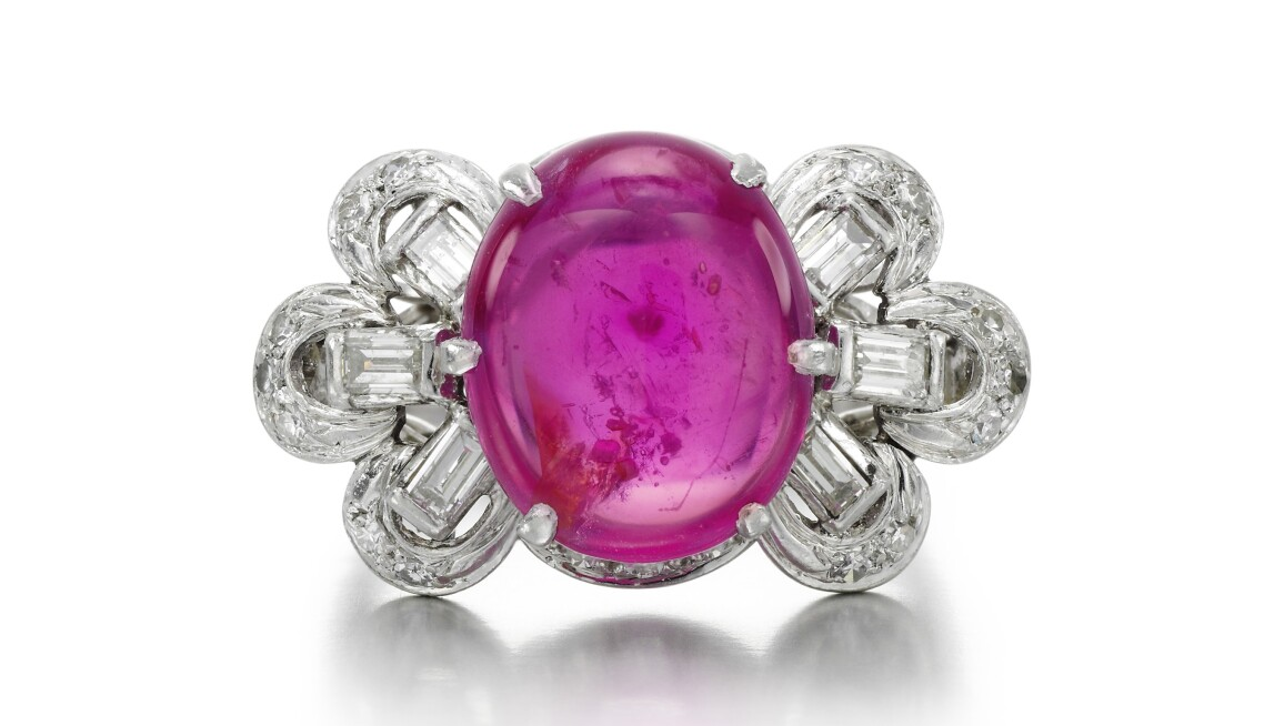 Star ruby and diamond ring pink stone