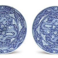 501. a pair of rare and large blue and white 'dragon' dishes kangxi marks and period