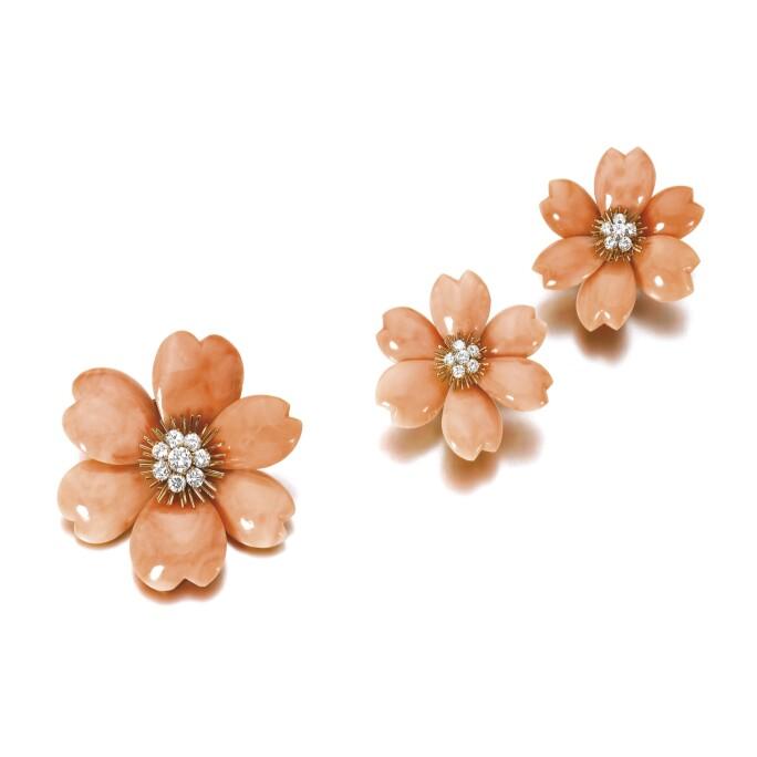 Coral and diamond demi-parure, 'Rose de Noël', Van Cleef & Arpels. LOT SOLD. CHF 93,750