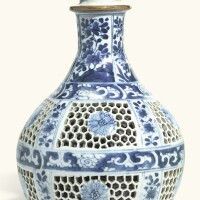 281. a chinese blue and white reticulated hookah base qing dynasty, kangxi period