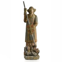 42. a large polychrome wood group of saint george and the dragon, french late 16th/early 17th century