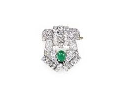 41. emerald and diamond brooch, 1930s