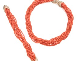14. coral and diamond necklace and bracelet, van cleef & arpels, france