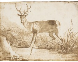 43. giovanni domenico tiepolo | a stag by a riverbank