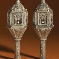 8. a pair of silver filigree torah finials, algeria, early 20th century |