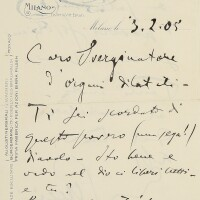 202. puccini, giacomo. unbuttoned autograph letter signed