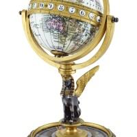 2506. swiss | a gilt brass globe world time keyless table clockcirca 1900