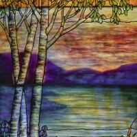 "210. tiffany studios | ""birches and irises"" landscape window"