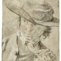112. giovanni battista piazzetta | a boy in a broad-brimmed hat, holdinga flute