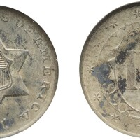 3. three-cent piece, silver, 1851-o, ngc ms 65