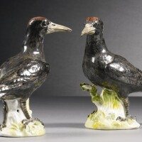 19. a rare pair of meissen figures of black woodpeckers circa 1756