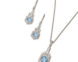 474. platinum, aquamarine and diamond pendant-necklace earrings, karel sterba