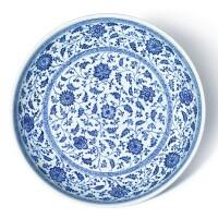 20. 清十八世紀 青花花卉紋大盤 |