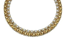 253. cultured pearl and diamond necklace