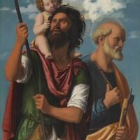 44. giovanni battista cima, called cima da conegliano   saint christopher with the infant christ and saint peter