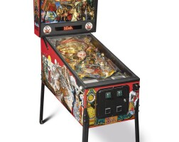 """172. """"hook"""" pinball machine, with presentation plaque to robin williams from steven spielberg, 1991"""