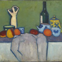 16. 亞力瑟·馮·亞爾倫斯基   《靜物與水果,人體雕塑與酒瓶》