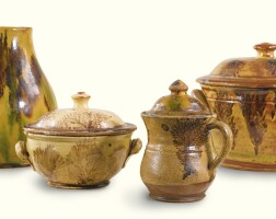 533. rare glazed red earthenware coffee or chocolate pot southeastern pennsylvania, 1800-1840