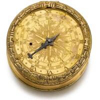 1. casper rauber, augsburg | an early and very rare gilt-metal tambour cased two-train clock watch with stackfreedand hog's bristle regulatorcirca 1570