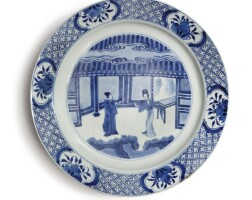 1004. a chinese blue and white figural dish, kangxi mark and period |