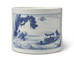 524. a large blue and white 'red cliffs' brushpot qing dynasty, kangxi period  