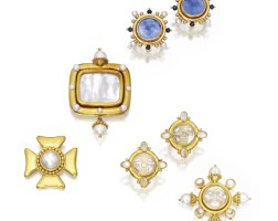 3. group of 18 karat gold brooches and earclips, elizabeth locke