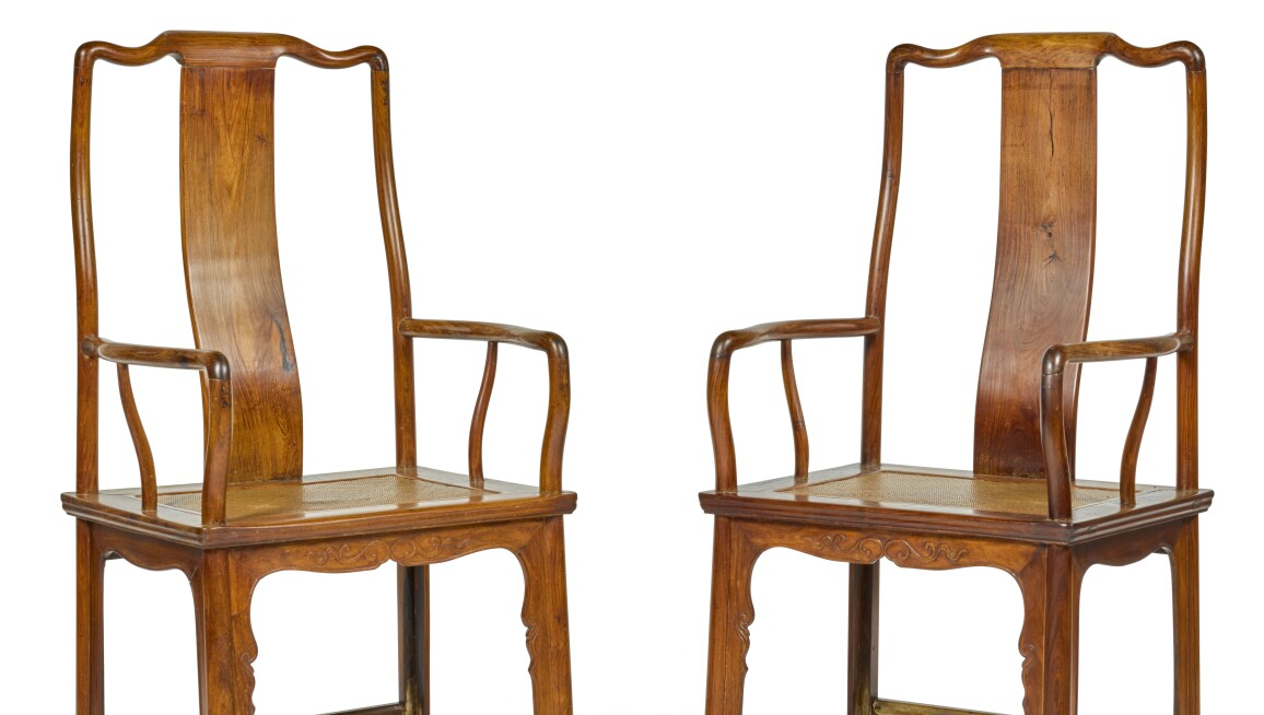 Property from a German Private Collection. A Good Pair of 'Huanghuali' 'Official's Hat' Armchairs, 17th Century. Estimate £20,000-30,000.