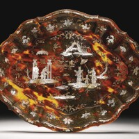 30. an italian piqué-work gold and mother-of-pearl inlaid tortoiseshell dish naples, circa 1740
