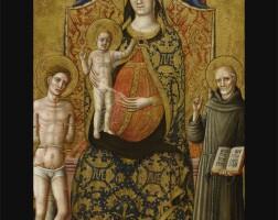 5. 斯塔福洛畫師 | 《聖母聖嬰登位,聖塞巴斯蒂安、瑟納的聖伯爾納定與兩名天使在旁》