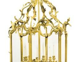 7. a monumental louis xv style ormolu six-light lantern