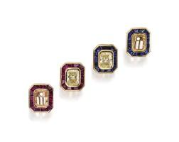 130. 18k黃金鑲彩色鑽石及彩色寶石耳環一對
