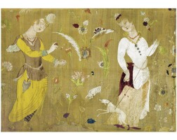 301. a safavid voided silk velvet, metal thread strip and bouclé figural panel, persia