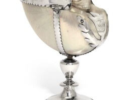 611. a silver-mounted nautilus shell cup, maker's mark only, w incorporating two vertical lines or two arrowheads side by side in a shield-shaped punch, english, first quarter of the 17th century |