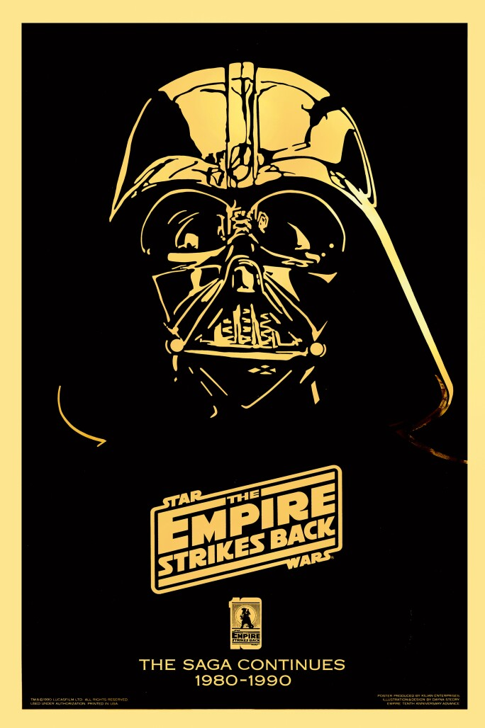 THE EMPIRE STRIKES BACK , GOLD MYLAR 10TH ANNIVERSARY POSTER, DAYNA STEDRY, US, 1990. ESTIMATE £1,200–1,800.
