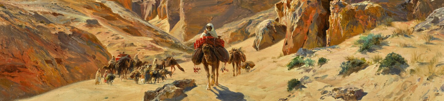 An Orientalist painting in an auction selling orientalist art