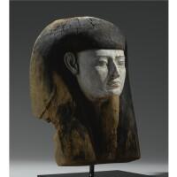 24. a wood mummy mask, 26th/30th dynasty, 664-342b.c.