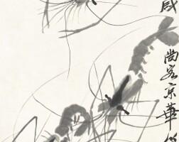 1203. 齊白石 游蝦 | 水墨紙本 立軸