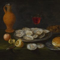 145. jacob foppens van es   a still life with oysters, chestnuts, all on pewter plates, together with a peeled lemon, an orange and other items on a table