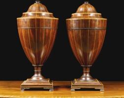 303. a pair of george iii mahogany, tulipwoodand chequer strungknife urns circa 1780