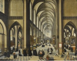135. abel grimmer | interior of antwerp cathedral, with figuresworshipping and promenading
