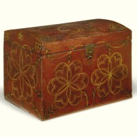 671. red and white paint decorated dome-top pine storage box, compass artist, lancaster county, pennsylvania, circa 1820