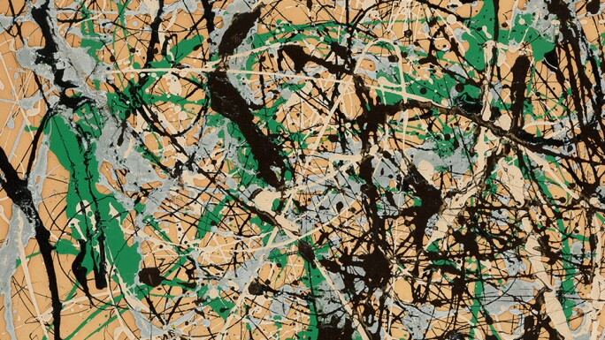 Jackson Pollock horizontal drip painting with black, silver and green.