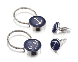 2003. ulysse nardin | pair of stainless steel cufflinks and key fobs circa 2000
