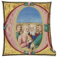 8. all saints, historiated initial from a choirbook, in latin [italy (verona), c.1510-20]