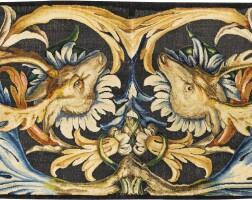 11. twolouis xiv manufacture of the savonnerie sewn carpet fragments, delivered in 1677, workshop of pierre dupont, probably from the galerie du bord de l'eau, palais du louvre |