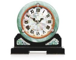 336. attractive jadeite, coral, mother-of-pearl, enamel and diamond desk timepiece, cartier, circa 1926
