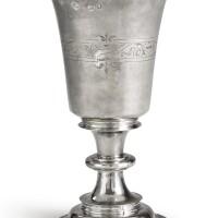 2008. an elizabeth i silver communion cup, maker's mark hw, pellet above, flowerhead? below, in shaped punch (jackson, 1989, p. 94), london, 1571